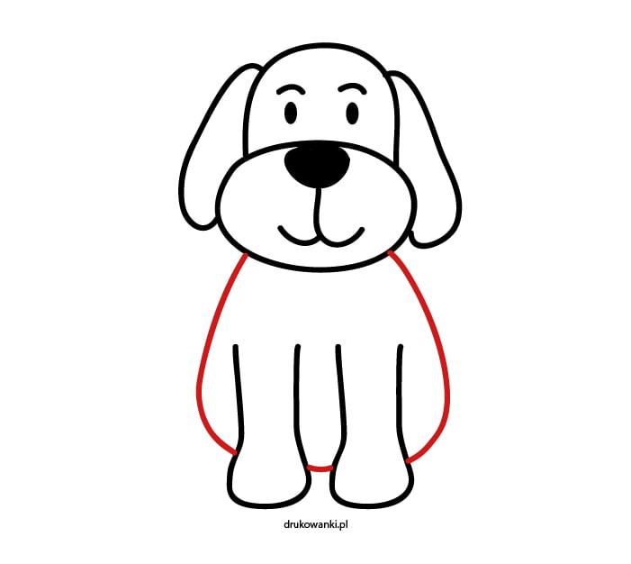 krok piąty jak narysować psa